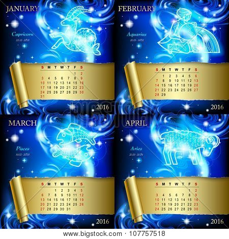 Zodiacal Calendar pages of 2016 for January, February, March, April with luminous zodiacal sign against the blue star space background.