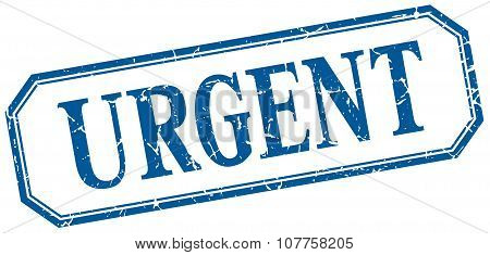 Urgent Square Blue Grunge Vintage Isolated Label