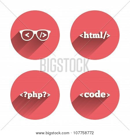 Programmer coder glasses. HTML markup language.