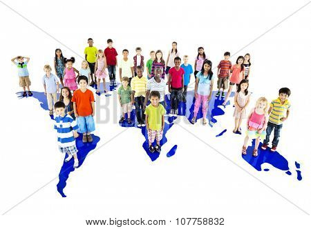 Children Kids Ethnicity Friendship Continent Map Concept