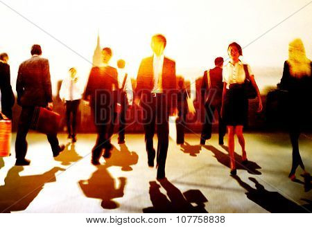 Business People Colleagues Walking Commuting Concept