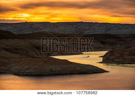 Boat At Sunset Lake Powell