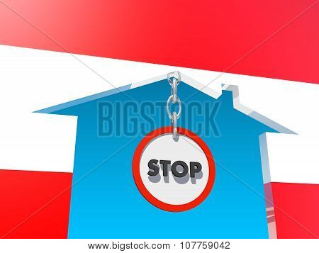road stop sign in home icon textured by austria flag