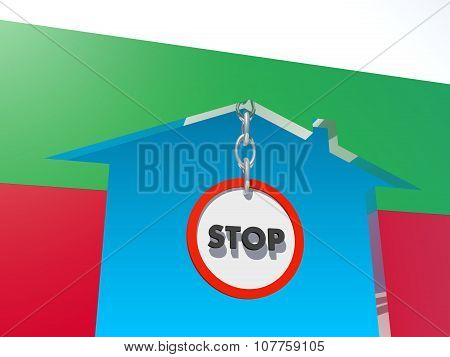 road stop sign in home icon textured by bulgaria flag