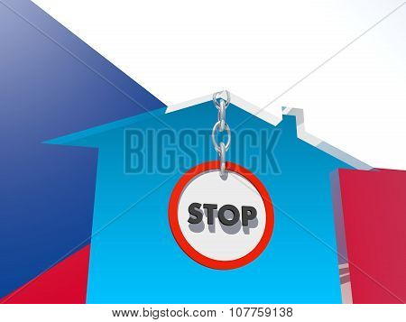 road stop sign in home icon textured by czech flag