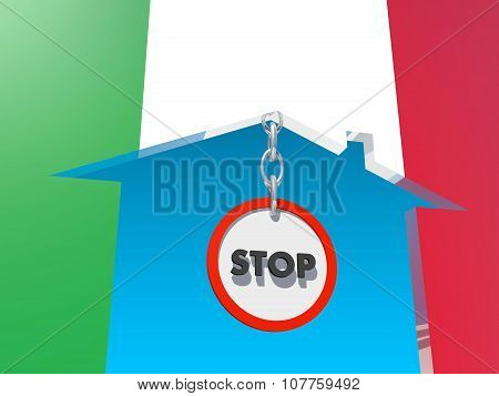 road stop sign in home icon textured by italy flag