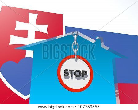 road stop sign in home icon textured by slovakia flag