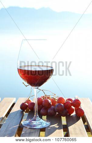 Red wine against Geneva lake, Switzerland