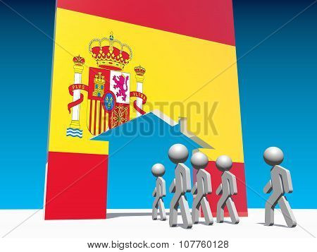 refugees go to home icon textured by spain flag