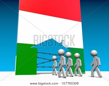 refugees go to home icon textured by hungary flag