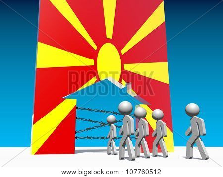 refugees go to home icon textured by macedonia flag