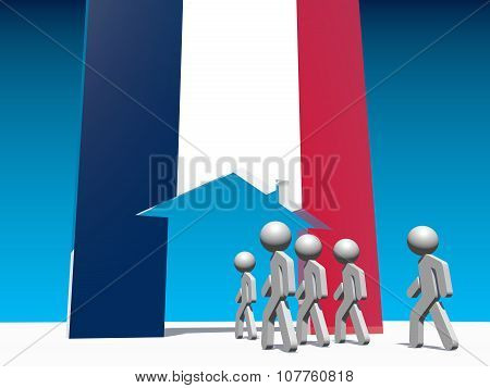 Humans go to home icon textured by france flag