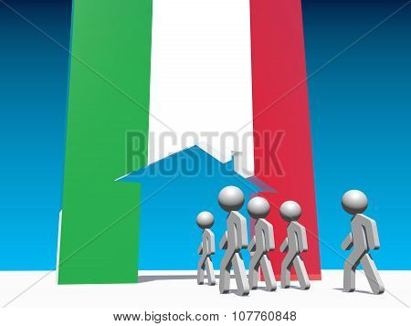 Humans go to home icon textured by italy flag