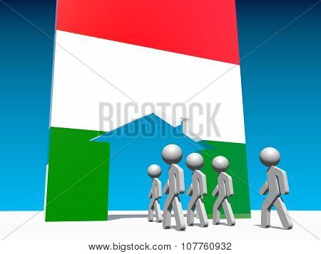 Humans go to home icon textured by hungary flag.
