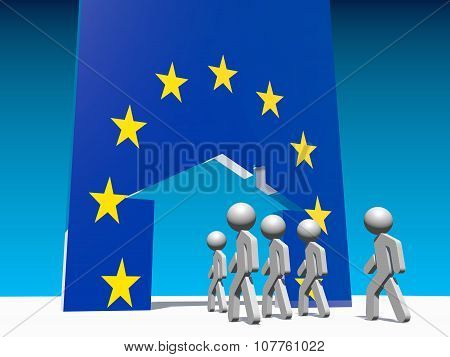 Humans go to home icon textured by european union flag.
