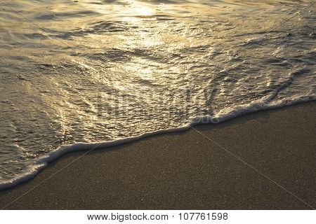 Tropical Beach Waves At Golden Hour