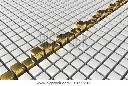 Golden Cubes Among White Plastic Ones