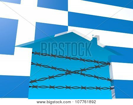 barbed wire closed home icon textured by greece flag