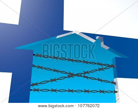 barbed wire closed home icon textured by finland flag