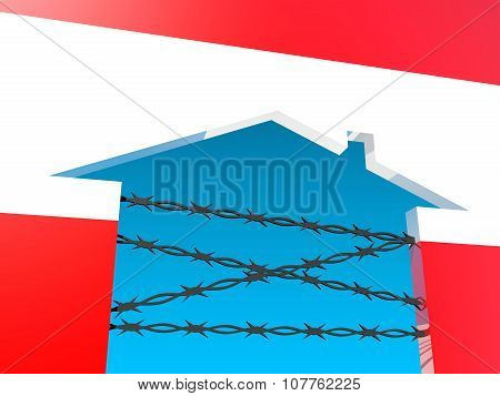 barbed wire closed home icon textured by austria flag