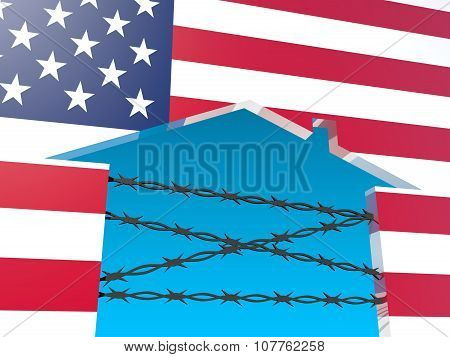 usa as closed home by barbed wire