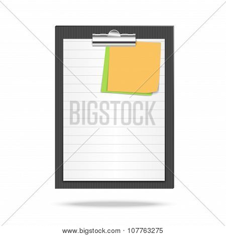 Clipboard, lined leaf of paper and note papers