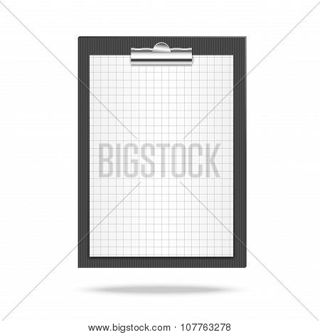 Clipboard, leaf of squared paper