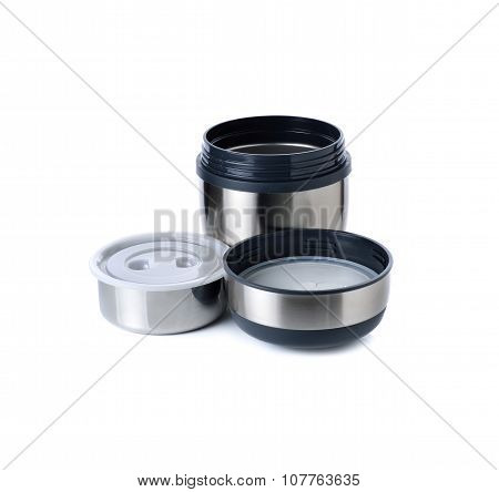 Stainless Steel Lunch Box On White Background