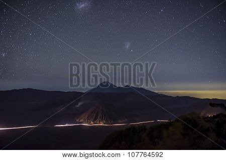 Bromo mountain in night time Java, Indonesia.