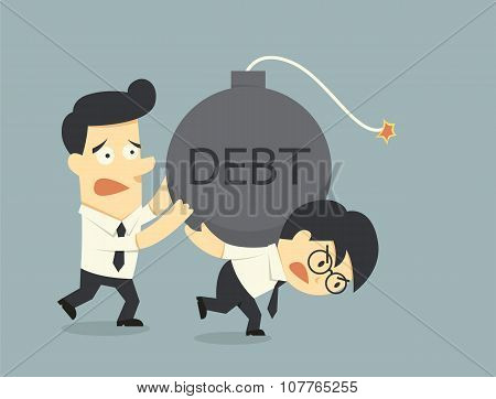 Businessman Carry Debt