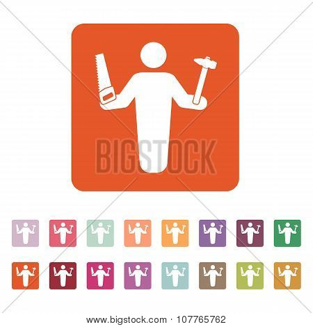 The carpenter avatar icon. Builder and handyman, craftsman symbol. Flat
