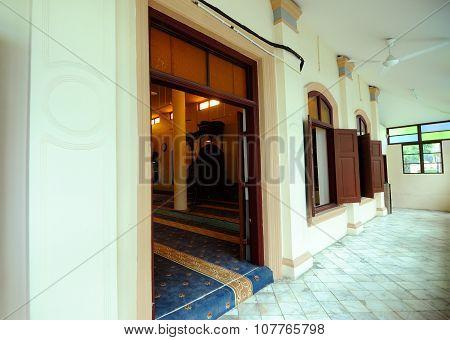 Entrance door of Kampung Paloh Mosque in Ipoh, Malaysia