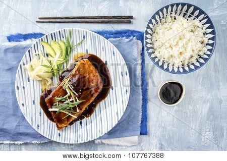 Salmon Teriyaki with Vegetable and Rice