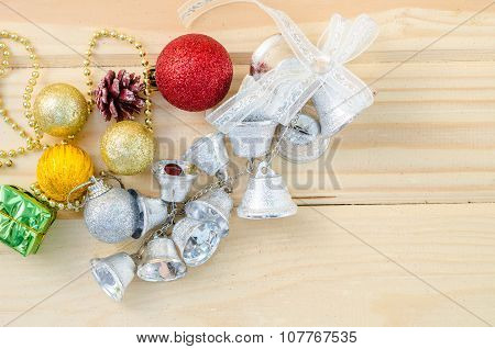 Silver Bell With Colorful Christmas Decorations.