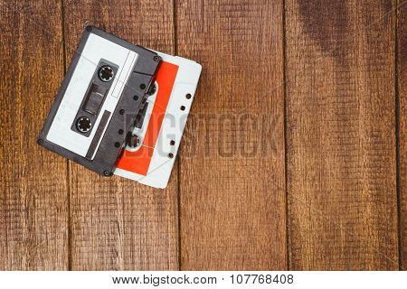 Close up view of old tape on wood desk