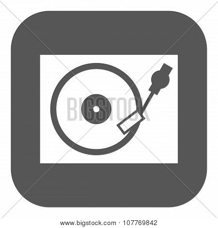 The turntable icon. DJ and gramophone, player, music symbol. Flat