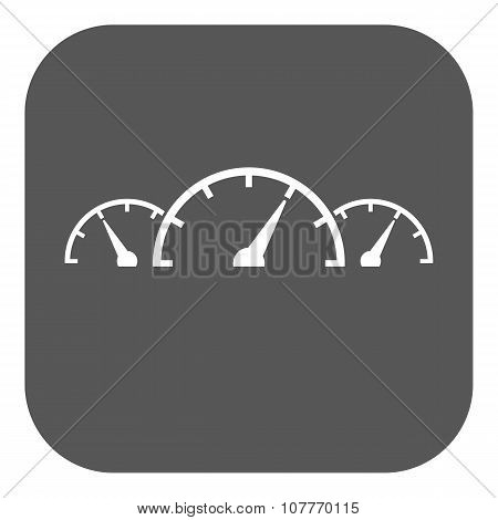 The tachometer, speedometer and indicator icon.