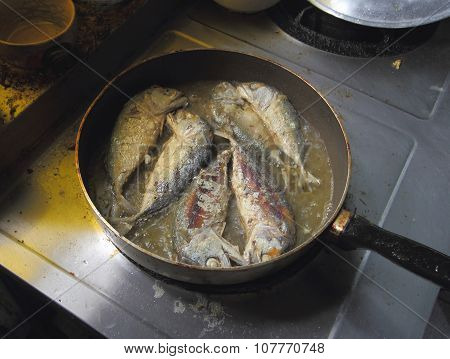 Fried Mackerel In Frying Pan