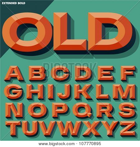 Vector 3D bright bold beveled alphabet with shadow. Multicolored version.