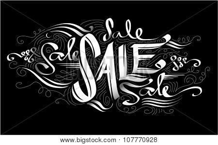 Text Illustration Featuring the Word Sale Written Against a Black Background