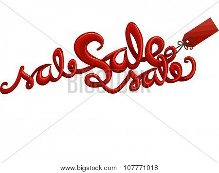 Text Illustration Featuring the Word Sale Written in Red Ink