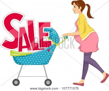 Illustration of a Pregnant Woman Pushing a Baby Stroller with the Word Sale Sitting on It