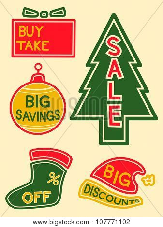 Illustration of Labels with Different Discounts and Promos Written on Them