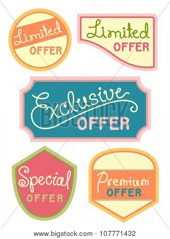 Text Illustration Featuring Labels Offering Exclusive Discounts