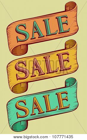 Typography Illustration Featuring the Word Sale Written on Vintage Ribbons