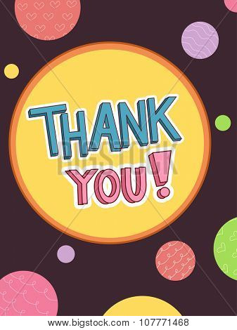 Text Illustration Featuring the Words Thank You Surrounded by Colorful Dots