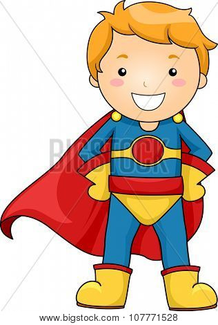 Illustration of a Little Boy Dressed as a Superhero Striking a Pose