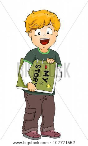 Illustration of a Little Boy Carrying a Homemade Book