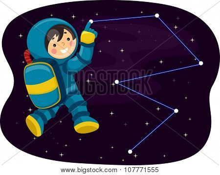Illustration of a Little Astronaut Pointing to a Constellation