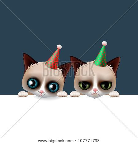 Cute happy birthday card with fun cats